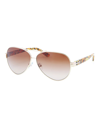 Tory Burch Modern Aviator Sunglasses, Gold/Tortoise