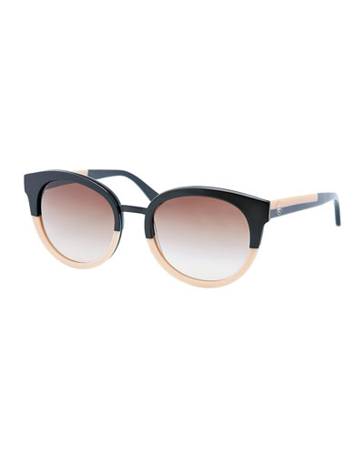 Tory Burch Eclectic Two-Tone Sunglasses, Black/Cream