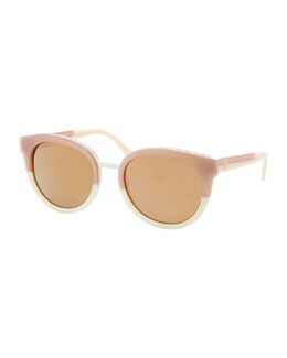 Tory Burch Eclectic Two-Tone Sunglasses, Khaki/Cream