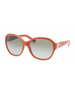 Tory Burch Classic Round-Frame Sunglasses, Orange