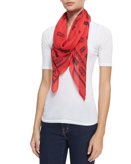 McQ Razor Blade-Printed Scarf, Watermelon Red