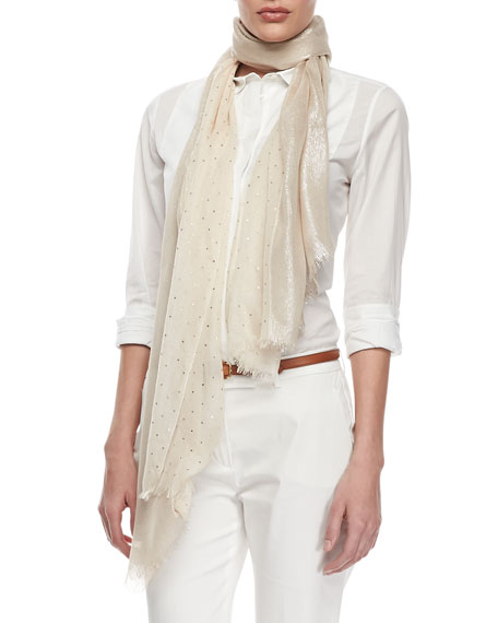 Crystal Drop Scarf, Beige/Gold