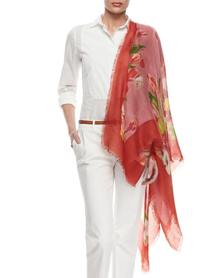 Painted Floral Square Scarf, Red