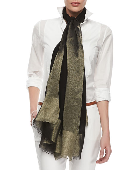 Shimmery Voile Scarf, Black/Gold