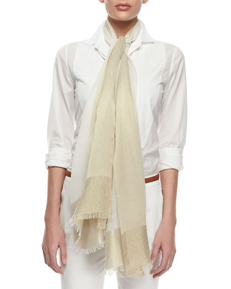 Stola Hydra Voile Scarf, White/Gold