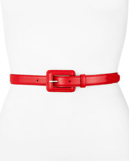 Neiman Marcus Covered-Buckle Belt, Red
