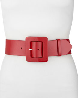 Neiman Marcus Covered Buckle Belt, Red