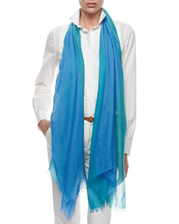 Loro Piana Lightweight Cashmere-Silk Colorblock Scarf, Blue/Green