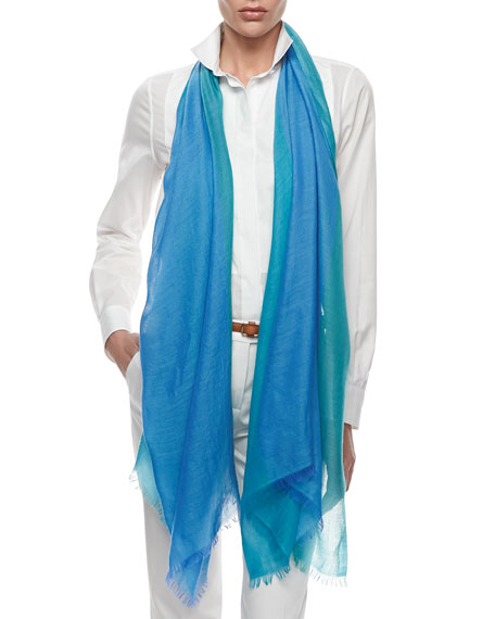 Lightweight Cashmere-Silk Colorblock Scarf, Blue/Green