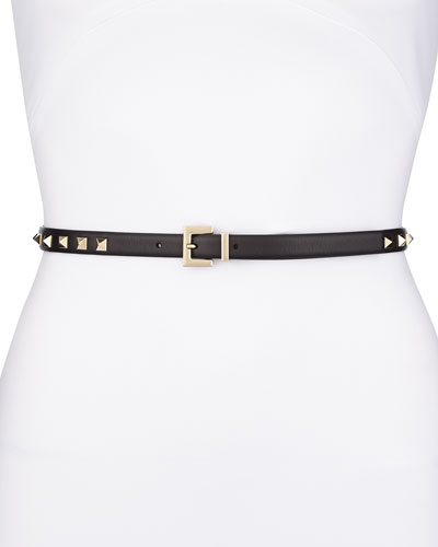 Valentino Rockstud Platino Studded Skinny Leather Belt, Black
