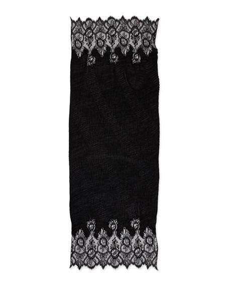 Cashmere Flower Lace Plisse Shawl, Black