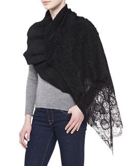 Valentino Cashmere Flower Lace Plisse Shawl, Black