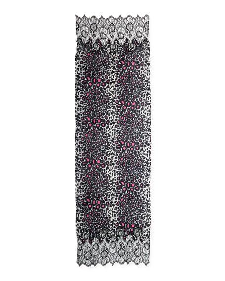 Cashmere Jaguar-Print Scarf with Lace Trim, Gray