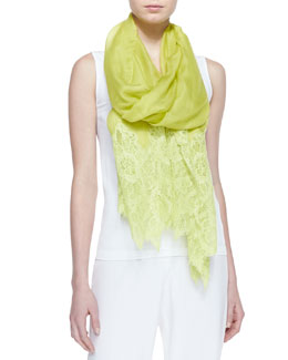 Valentino Wool Bicolor Lace Shawl, Yellow
