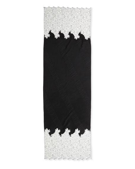 Cashmere Flower Lace Plisse Shawl, Black/White