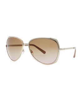 Valentino Single-Bridge Aviator Sunglasses, Light Golden