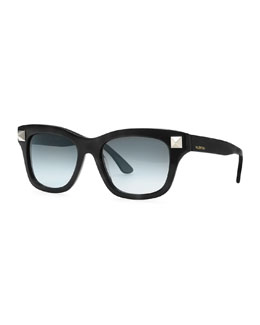 Valentino Rockstud-Temple Sunglasses, Black