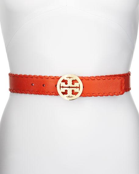Marion Whipstitched Logo Belt, Orange