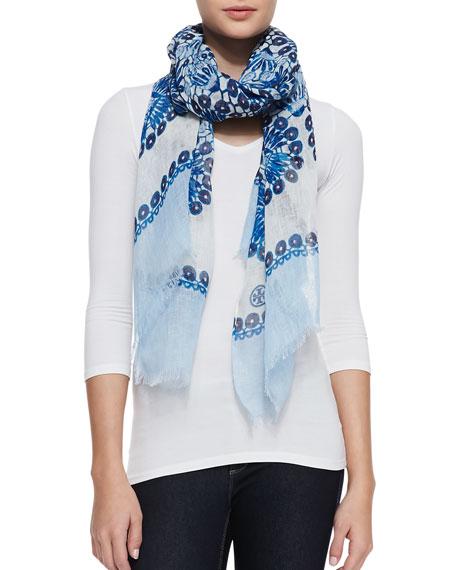 Crochet-Print Scarf, Blue