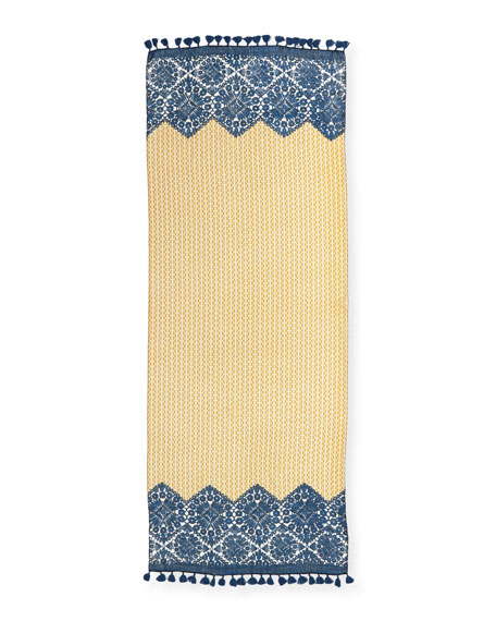Crochet-Print & T Logo Scarf, Yellow/Blue