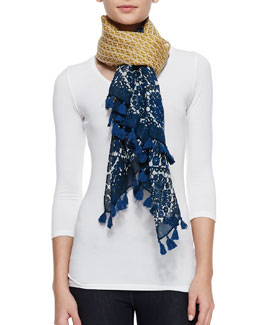 Tory Burch Crochet-Print & T Logo Scarf, Yellow/Blue
