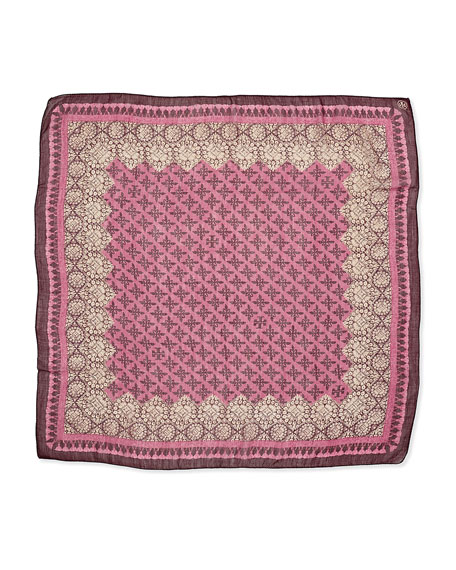 Printed Crochet-Print Border Square Scarf, Pink/Purple
