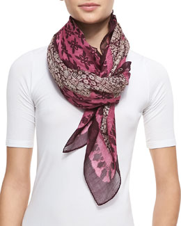 Tory Burch Printed Crochet-Print Border Square Scarf, Pink/Purple