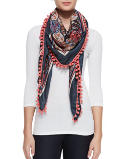 Tory Burch Anatolia Square Scarf with Pompoms
