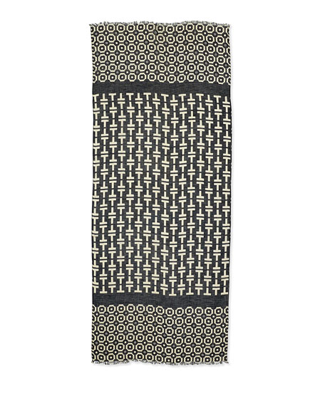 Fret Tile Scarf, Navy/Tan