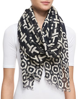 Tory Burch Fret Tile Scarf, Navy/Tan