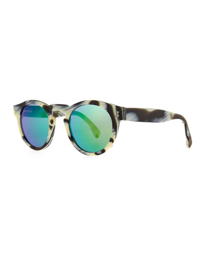 Illesteva Leonard Round Horn-Pattern Sunglasses with Mirror Lens