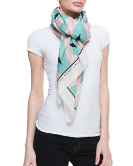 MARC by Marc Jacobs Diamond Flame Print Scarf, Mint/Pink/Multi