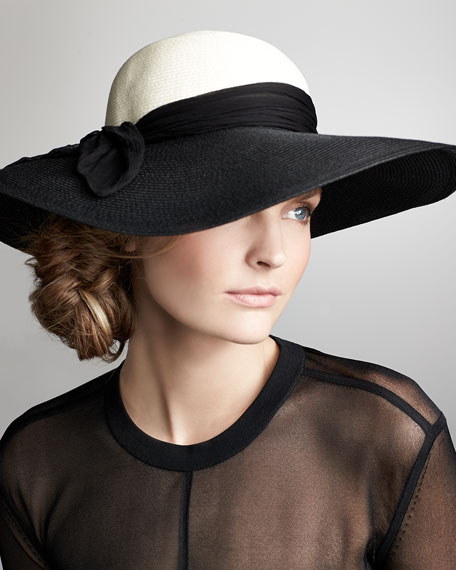 Honey Wide-Brim Scarf Hat, Black/Ivory