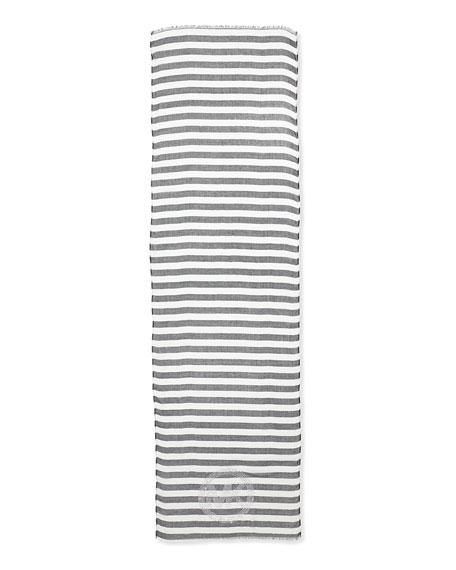 Sophia Striped Voile Logo Scarf