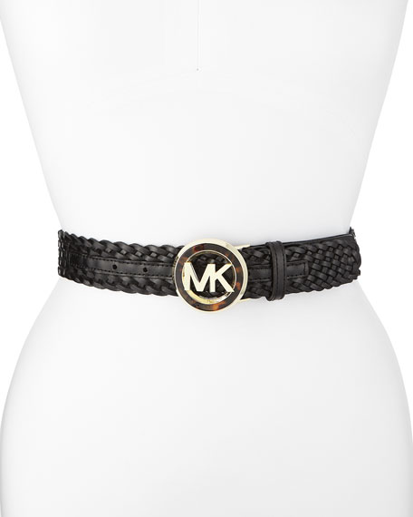 Woven Leather Logo Belt