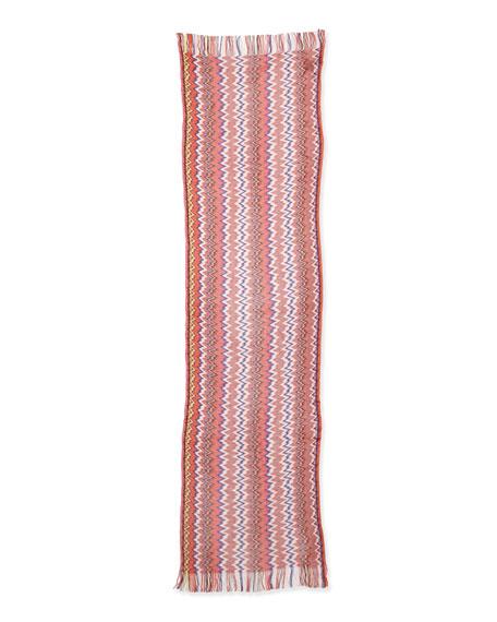 Zigzag Knit Shawl, Pink/Multi