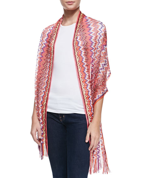 Zigzag Knit Shawl, Pink/Multi
