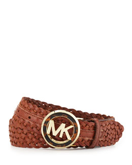 MICHAEL Michael Kors  Woven Leather Logo Belt
