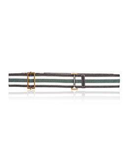 Marni Striped Fabric Belt, Pine/Multi