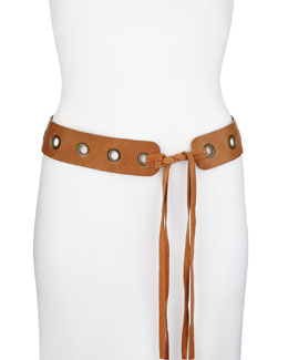 Donna Karan Leather Tie Belt with Grommets