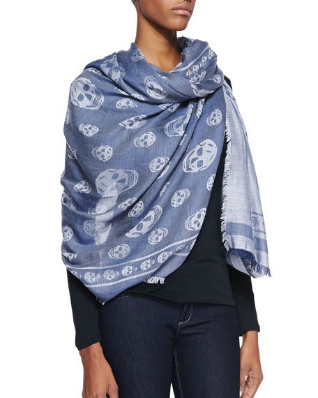Skull All Over-Print Woven Shawl