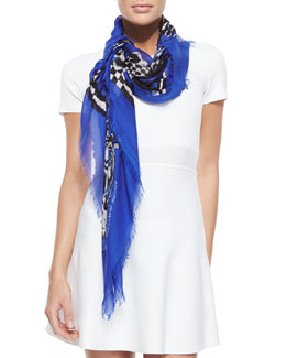Alexander McQueen Fringed Feather Skull Circle Shawl, Purple/Blue