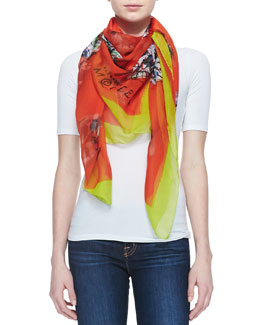 Alexander McQueen Graffiti MS Shawl, Red/Yellow