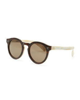 Illesteva Round Acetate Sunglasses, Dark Havana/Cream