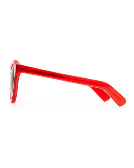 Illesteva Round Acetate Sunglasses, Red