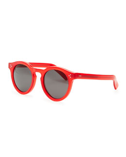 Illesteva Round Acetate Sunglasses, Red