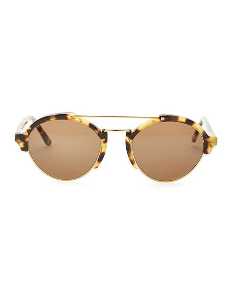 Tortoise Milan II Round Sunglasses