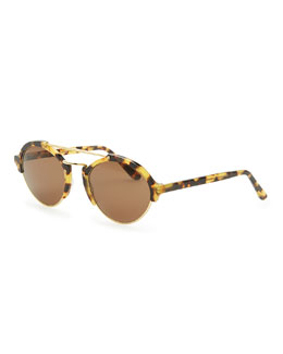 Illesteva Tortoise Milan II Round Sunglasses