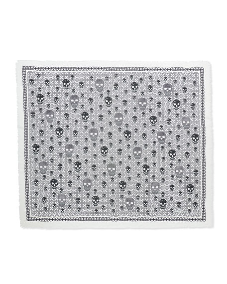 Grid Graphic Modal/Silk Shawl, Ivory/Black