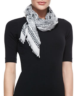 Alexander McQueen Grid Graphic Modal/Silk Shawl, Ivory/Black